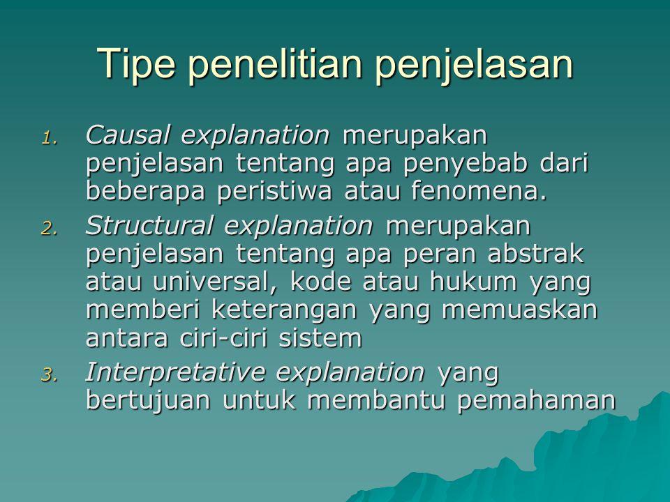 Tipe penelitian penjelasan 1.