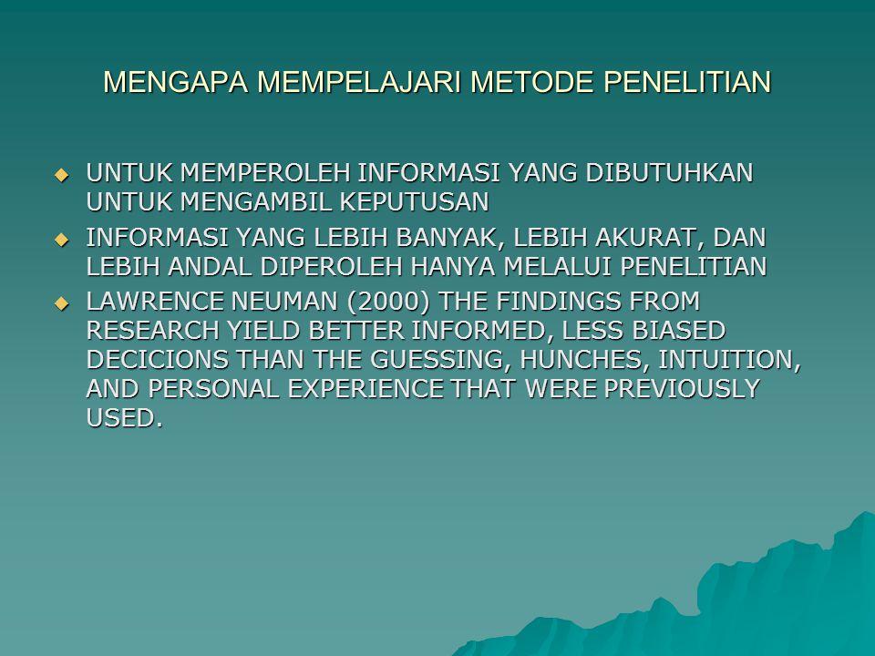 MENGAPA MEMPELAJARI METODE PENELITIAN  UNTUK MEMPEROLEH INFORMASI YANG DIBUTUHKAN UNTUK MENGAMBIL KEPUTUSAN  INFORMASI YANG LEBIH BANYAK, LEBIH AKURAT, DAN LEBIH ANDAL DIPEROLEH HANYA MELALUI PENELITIAN  LAWRENCE NEUMAN (2000) THE FINDINGS FROM RESEARCH YIELD BETTER INFORMED, LESS BIASED DECICIONS THAN THE GUESSING, HUNCHES, INTUITION, AND PERSONAL EXPERIENCE THAT WERE PREVIOUSLY USED.
