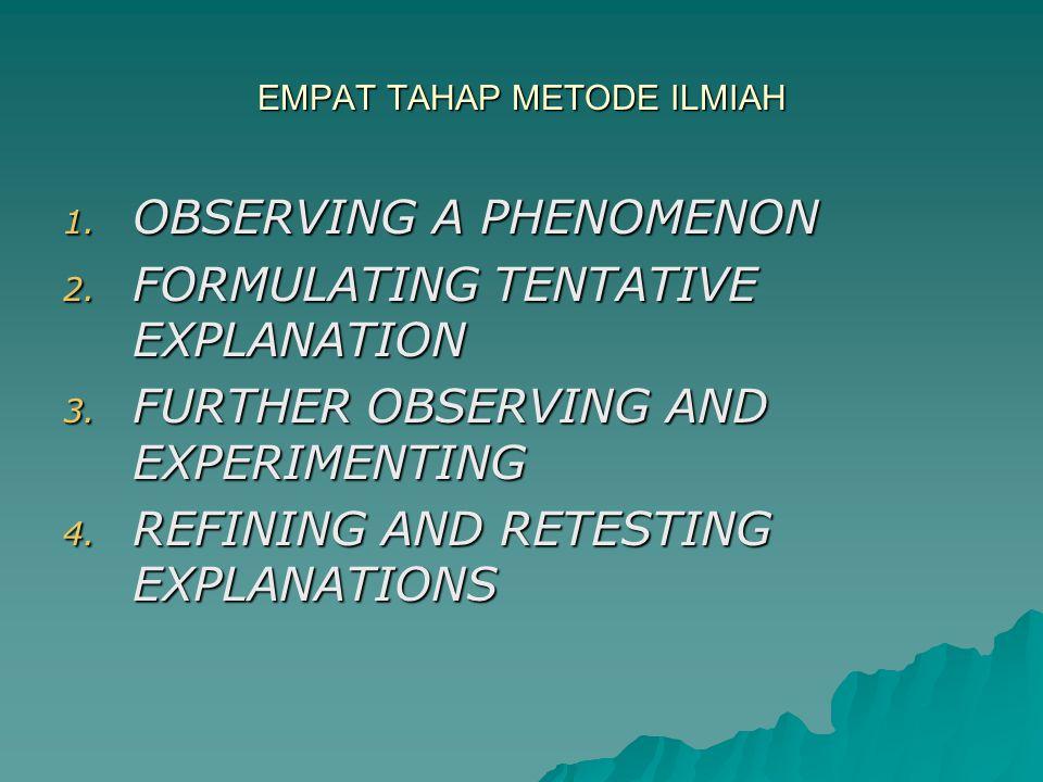 EMPAT TAHAP METODE ILMIAH 1.OBSERVING A PHENOMENON 2.