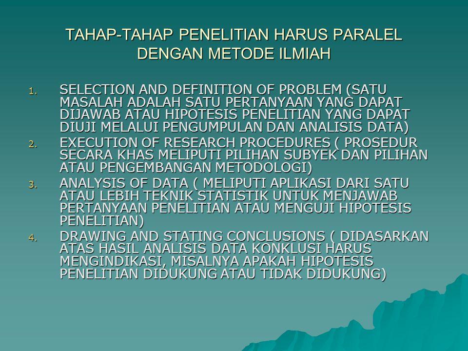 TAHAP-TAHAP PENELITIAN HARUS PARALEL DENGAN METODE ILMIAH 1.