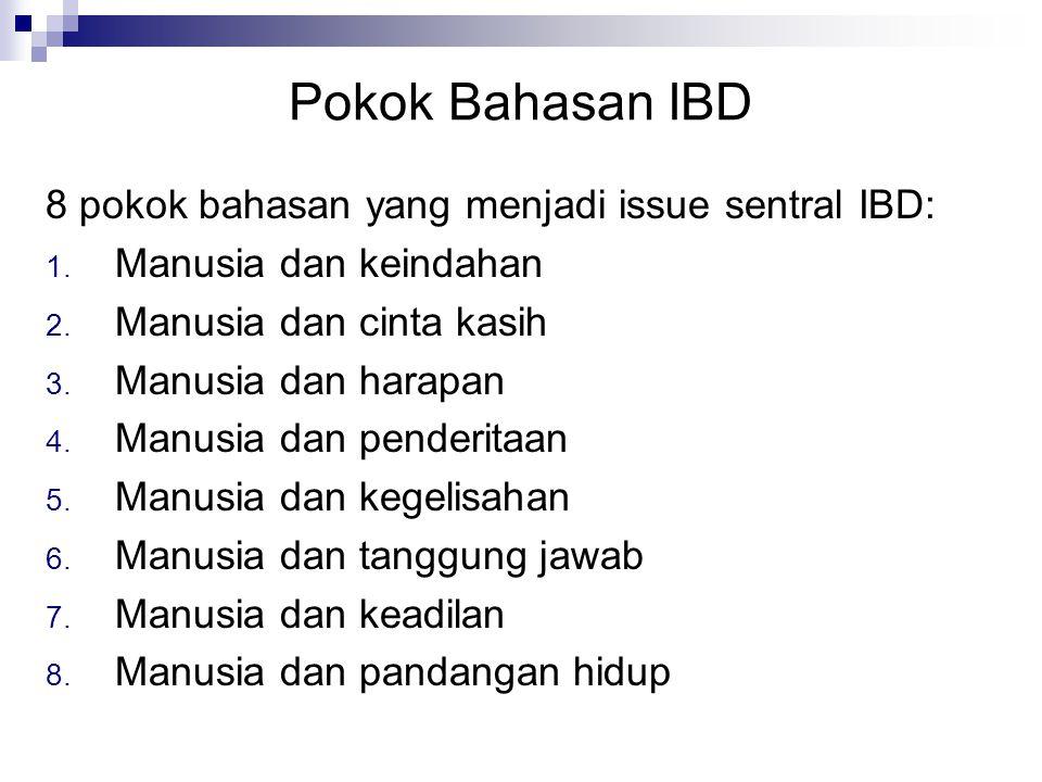 Pokok Bahasan IBD 8 pokok bahasan yang menjadi issue sentral IBD: 1. Manusia dan keindahan 2. Manusia dan cinta kasih 3. Manusia dan harapan 4. Manusi