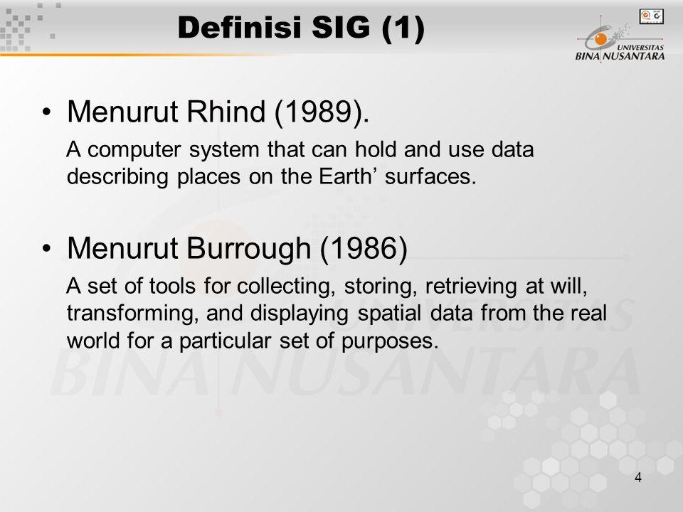 3 Outline Materi Materi 1 : Definisi SIG Materi 2 : Keunggulan SIG Materi 3 : Karakteristik SIG Materi 4 : Contoh Aplikasi SIG