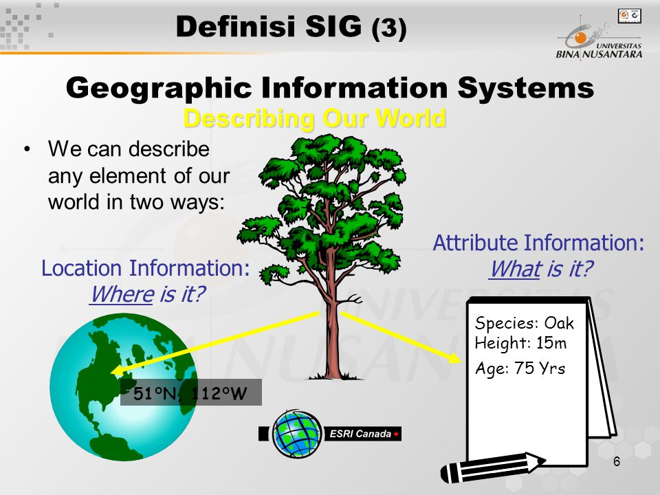 6 Definisi SIG (3) Geographic Information Systems Describing Our World We can describe any element of our world in two ways: Attribute Information: What is it.