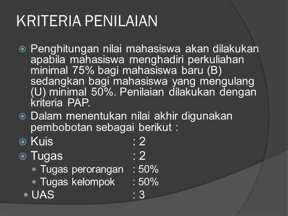 KRITERIA PENILAIAN  Penghitungan nilai mahasiswa akan dilakukan apabila mahasiswa menghadiri perkuliahan minimal 75% bagi mahasiswa baru (B) sedangka