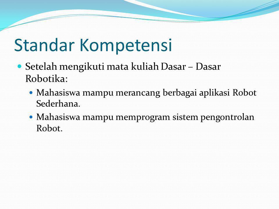 Kompetensi Dasar Setelah mengikuti kuliah ini, mahasiswa akan dapat : – Memahami konsep sistem Robot secara matematis – Memahami komponen dasar robotika – Memahami kapabilitas sistem robot – Memahami prinsip operasi berbagai sensor sistem robot – Memahami teknik pemrograman aplikasi robot – Memahami konsep integrasi sistem robot – Memahami konsep pengembangan lanjut sistem robot