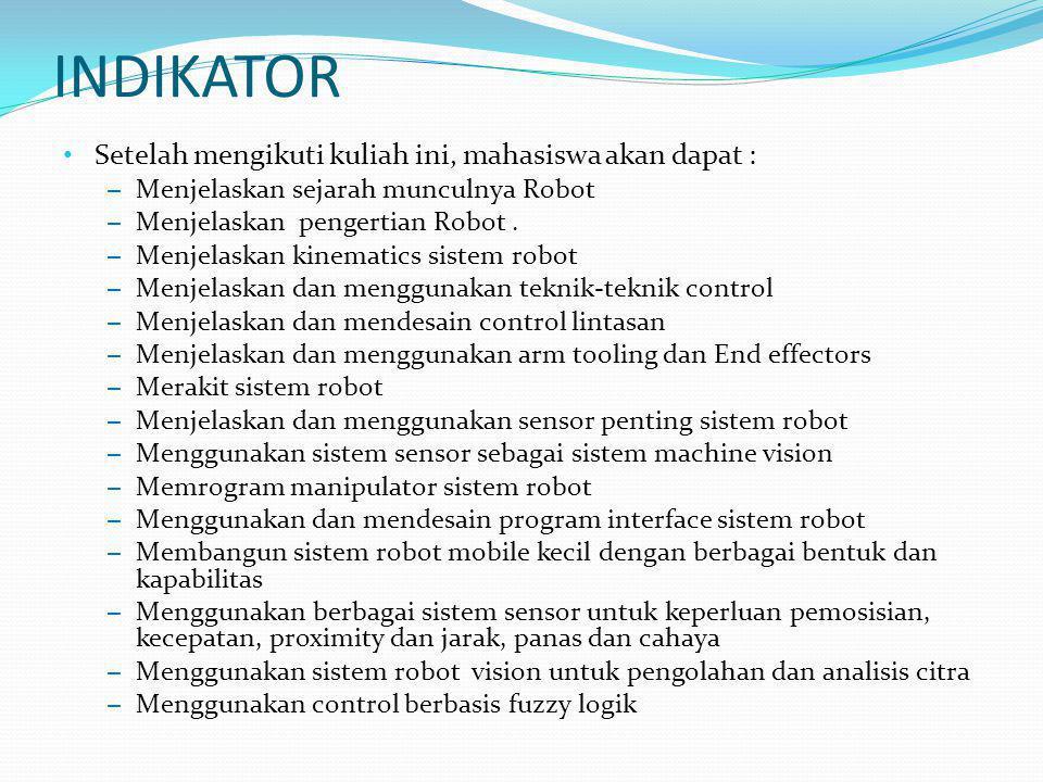 BUKU REFERANSI Pitowarno, Endra, Robotika Desain, Kontrol, dan Kecerdasan Buatan, Andi Offset Yogyakarta, 2006 S.B Niku, Introduction to Robotics: Analysis, Systems, Applications, Prentice-Hall, 2002 F.G.