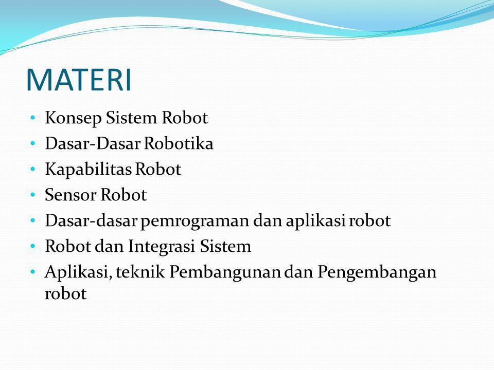 MATERI Konsep Sistem Robot Dasar-Dasar Robotika Kapabilitas Robot Sensor Robot Dasar-dasar pemrograman dan aplikasi robot Robot dan Integrasi Sistem A
