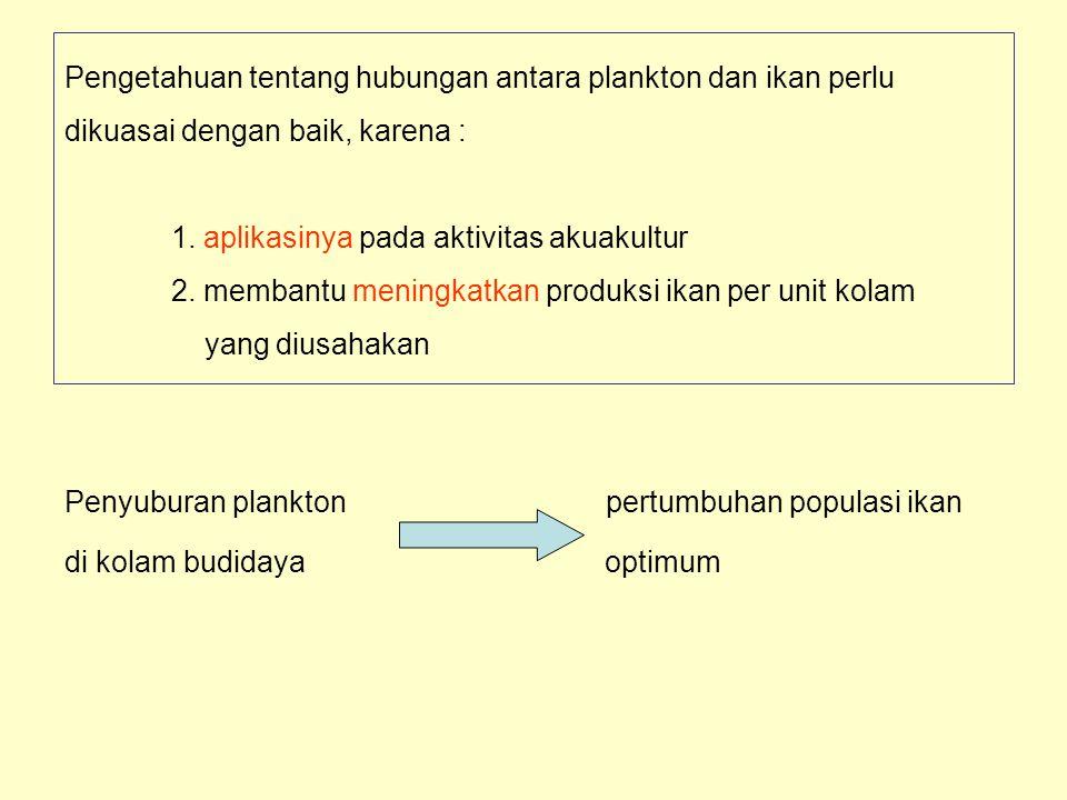 Pengetahuan tentang hubungan antara plankton dan ikan perlu dikuasai dengan baik, karena : 1. aplikasinya pada aktivitas akuakultur 2. membantu mening