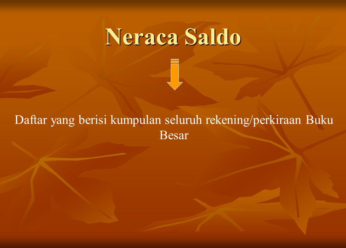 Neraca Saldo Daftar yang berisi kumpulan seluruh rekening/perkiraan Buku Besar