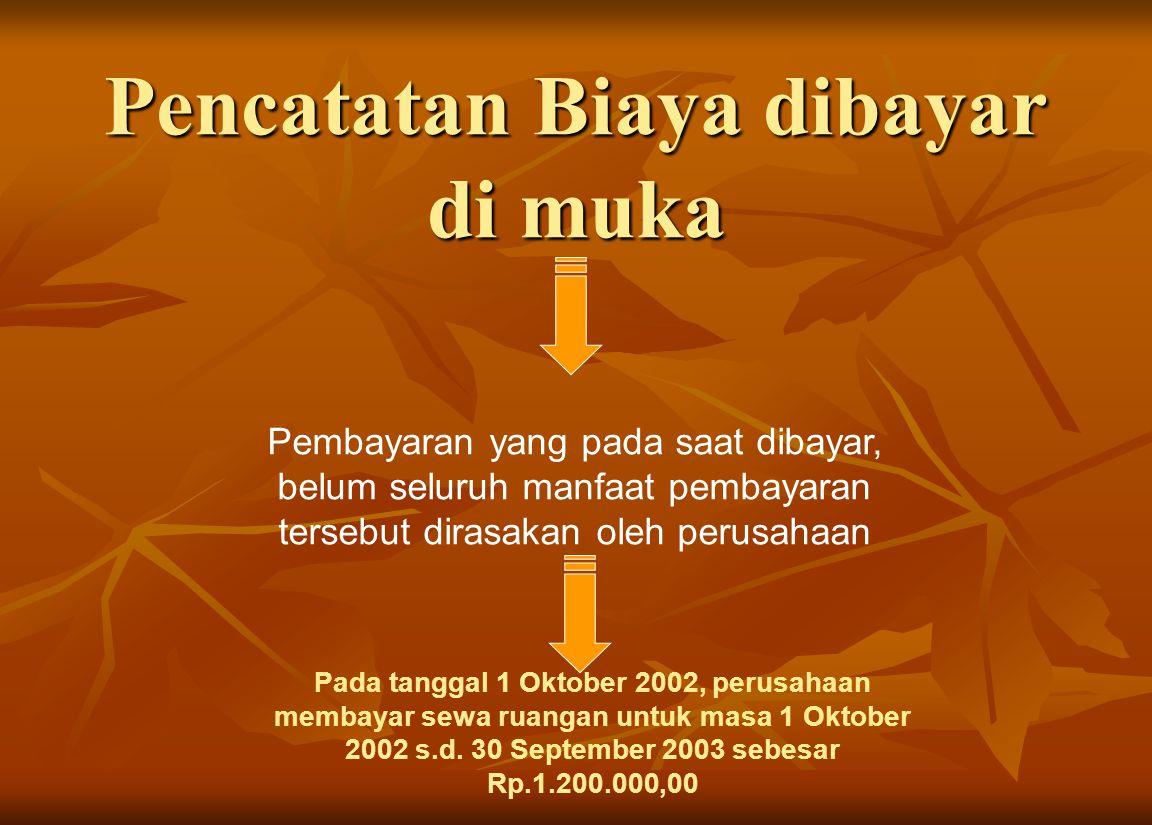 Pencatatan Biaya dibayar di muka Pembayaran yang pada saat dibayar, belum seluruh manfaat pembayaran tersebut dirasakan oleh perusahaan Pada tanggal 1 Oktober 2002, perusahaan membayar sewa ruangan untuk masa 1 Oktober 2002 s.d.