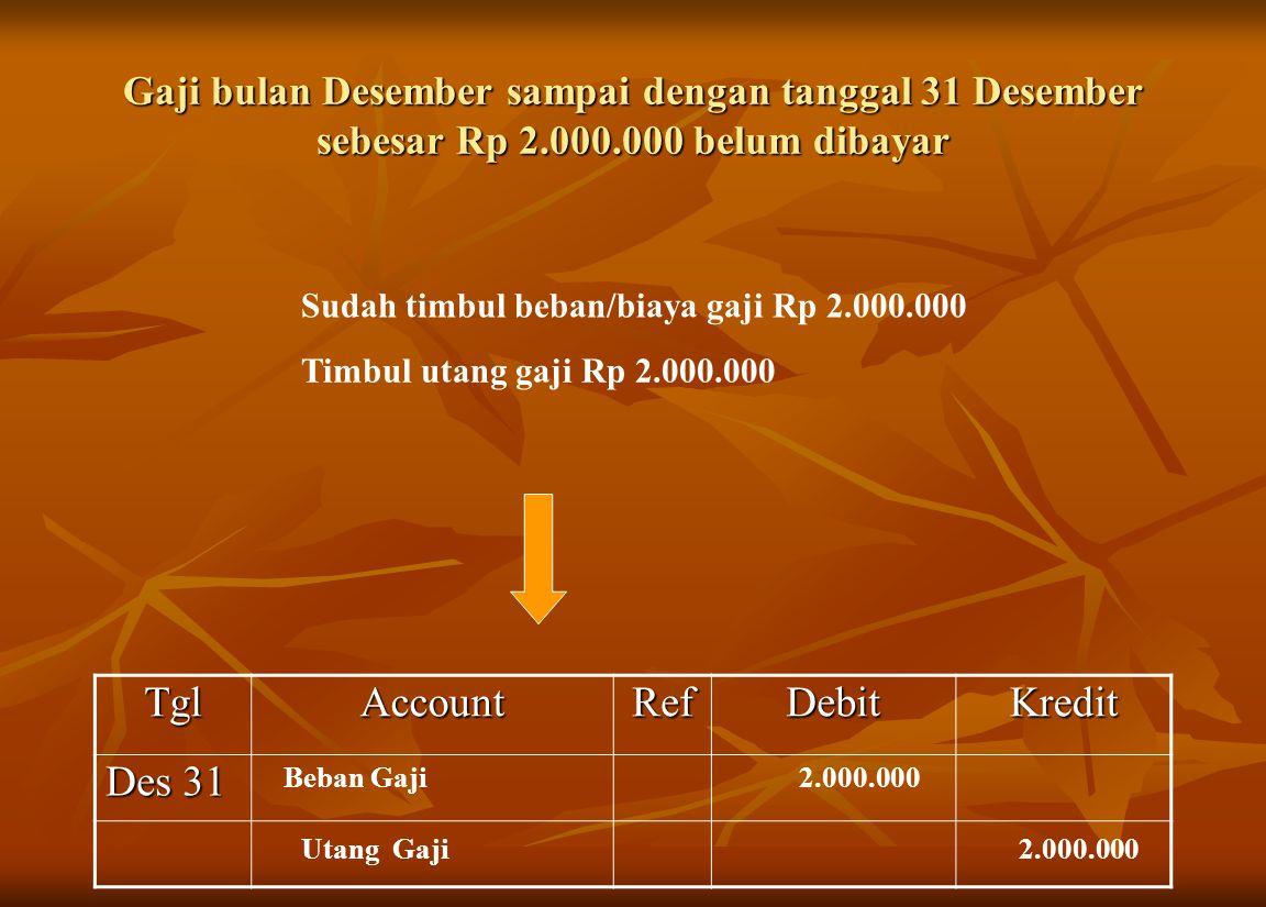 Gaji bulan Desember sampai dengan tanggal 31 Desember sebesar Rp 2.000.000 belum dibayar Sudah timbul beban/biaya gaji Rp 2.000.000 Timbul utang gaji
