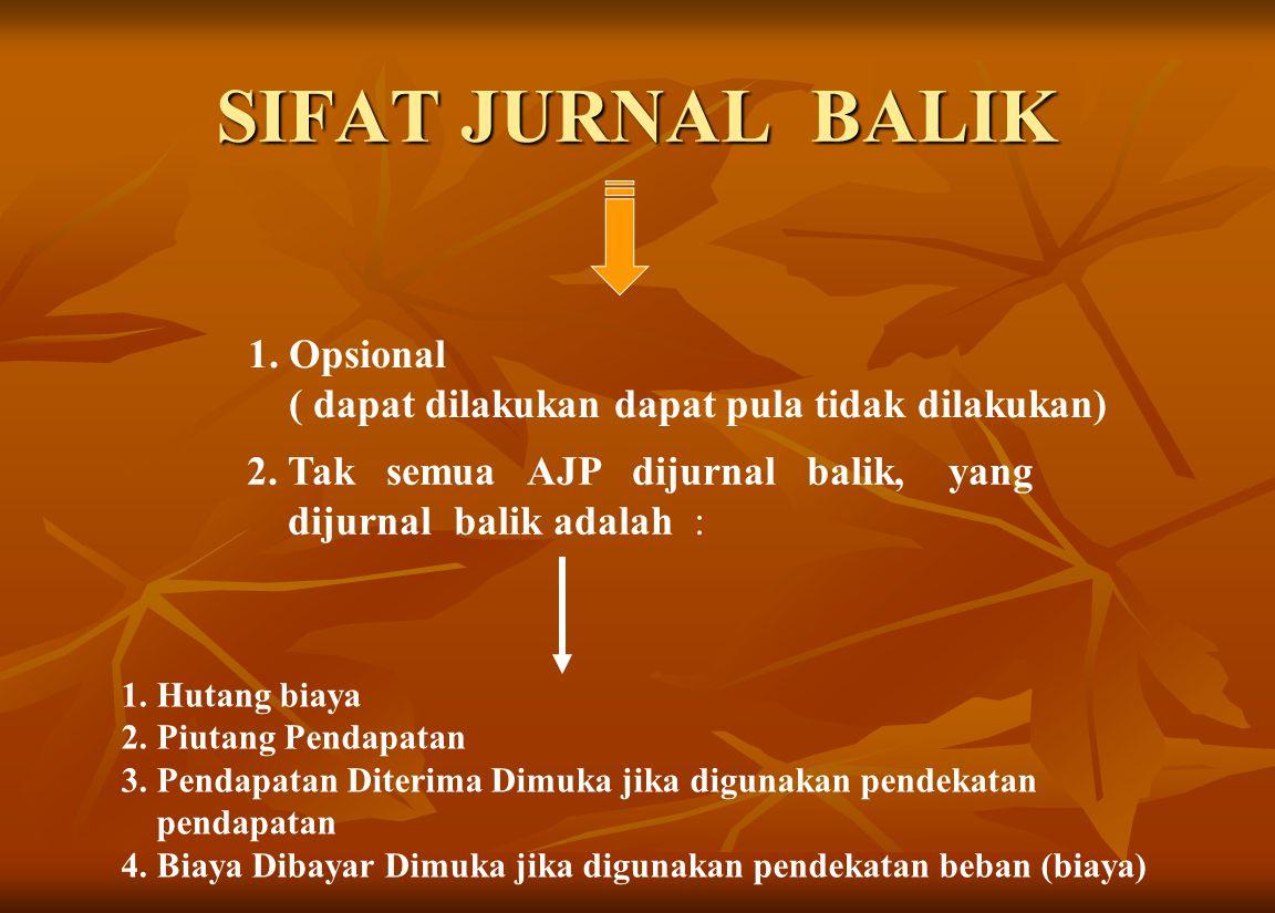 SIFAT JURNAL BALIK 1.Opsional ( dapat dilakukan dapat pula tidak dilakukan) 1.