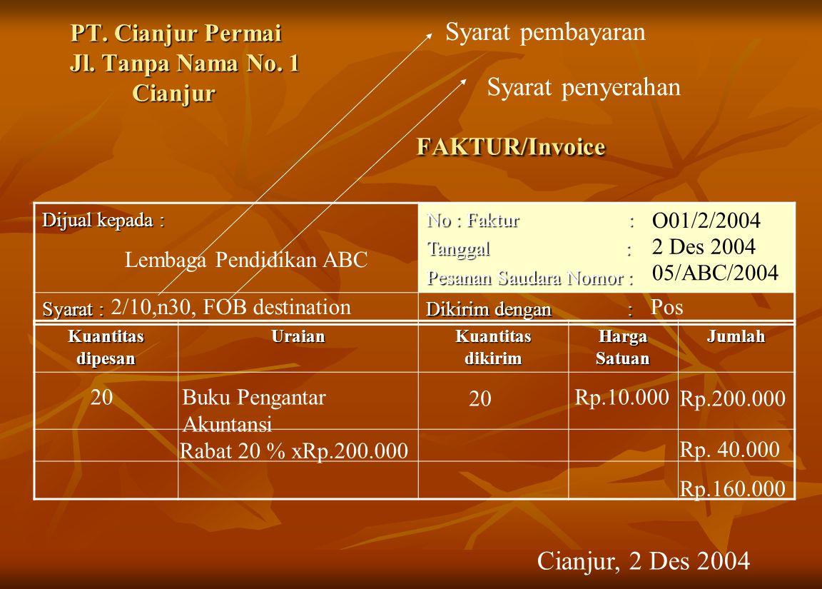 PT. Cianjur Permai Jl. Tanpa Nama No. 1 Cianjur FAKTUR/Invoice Dijual kepada : No : Faktur : Tanggal : Pesanan Saudara Nomor : Syarat : Dikirim dengan