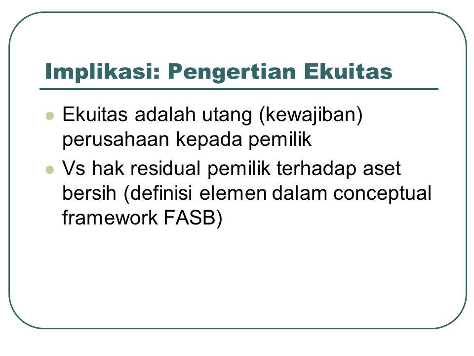 Implikasi: Pengertian Ekuitas Ekuitas adalah utang (kewajiban) perusahaan kepada pemilik Vs hak residual pemilik terhadap aset bersih (definisi elemen