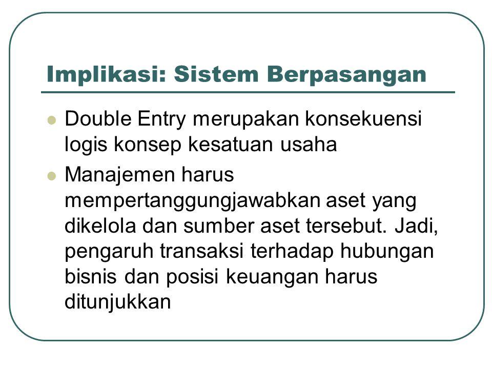 Implikasi: Sistem Berpasangan Double Entry merupakan konsekuensi logis konsep kesatuan usaha Manajemen harus mempertanggungjawabkan aset yang dikelola