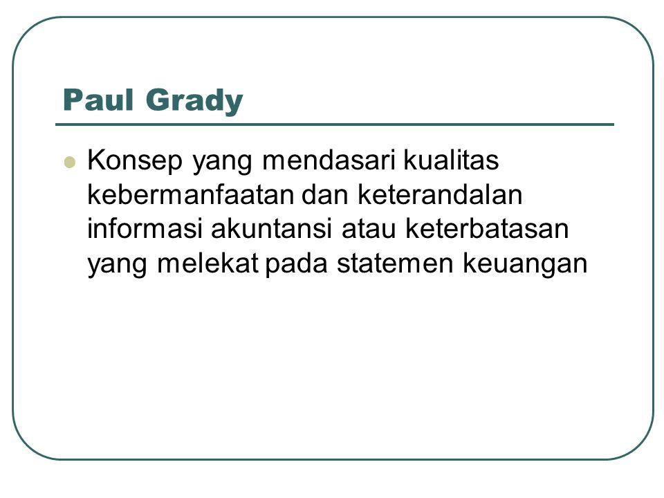 Paul Grady Konsep yang mendasari kualitas kebermanfaatan dan keterandalan informasi akuntansi atau keterbatasan yang melekat pada statemen keuangan