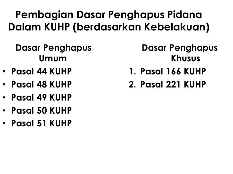Pembagian Dasar Penghapus Pidana Dalam KUHP (berdasarkan Kebelakuan) Dasar Penghapus Umum Pasal 44 KUHP Pasal 48 KUHP Pasal 49 KUHP Pasal 50 KUHP Pasa