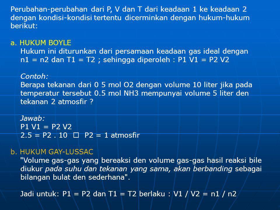 Perubahan-perubahan dari P, V dan T dari keadaan 1 ke keadaan 2 dengan kondisi-kondisi tertentu dicerminkan dengan hukum-hukum berikut: a. HUKUM BOYLE