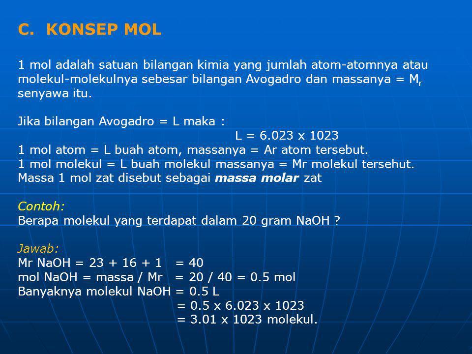 C. KONSEP MOL 1 mol adalah satuan bilangan kimia yang jumlah atom-atomnya atau molekul-molekulnya sebesar bilangan Avogadro dan massanya = M r senyawa