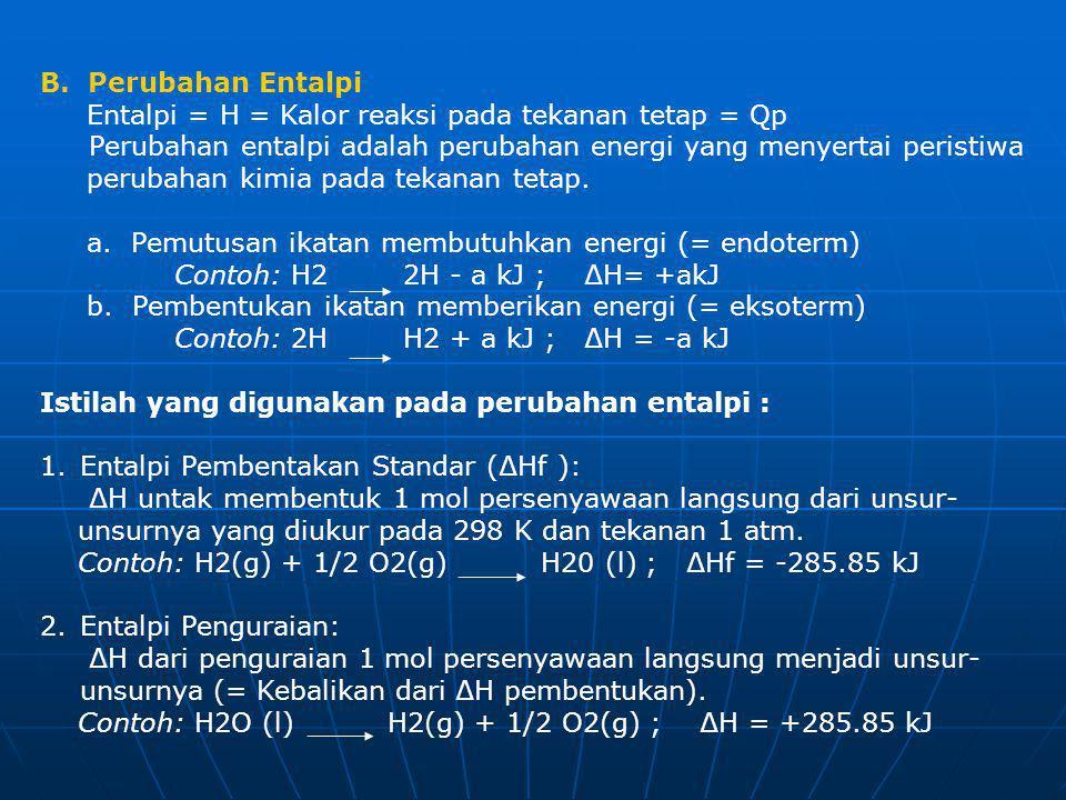 B. Perubahan Entalpi Entalpi = H = Kalor reaksi pada tekanan tetap = Qp Perubahan entalpi adalah perubahan energi yang menyertai peristiwa perubahan k