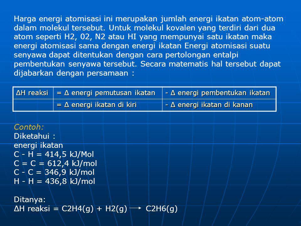 Harga energi atomisasi ini merupakan jumlah energi ikatan atom-atom dalam molekul tersebut. Untuk molekul kovalen yang terdiri dari dua atom seperti H