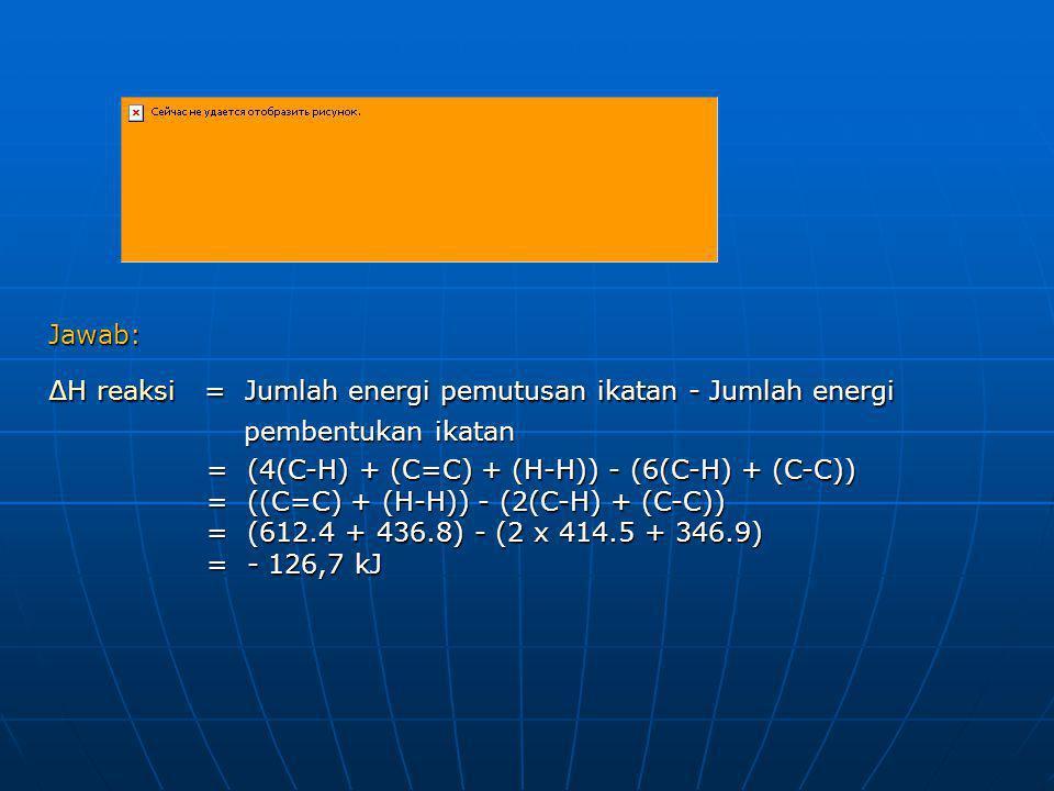 Jawab: ∆H reaksi = Jumlah energi pemutusan ikatan - Jumlah energi pembentukan ikatan pembentukan ikatan = (4(C-H) + (C=C) + (H-H)) - (6(C-H) + (C-C))