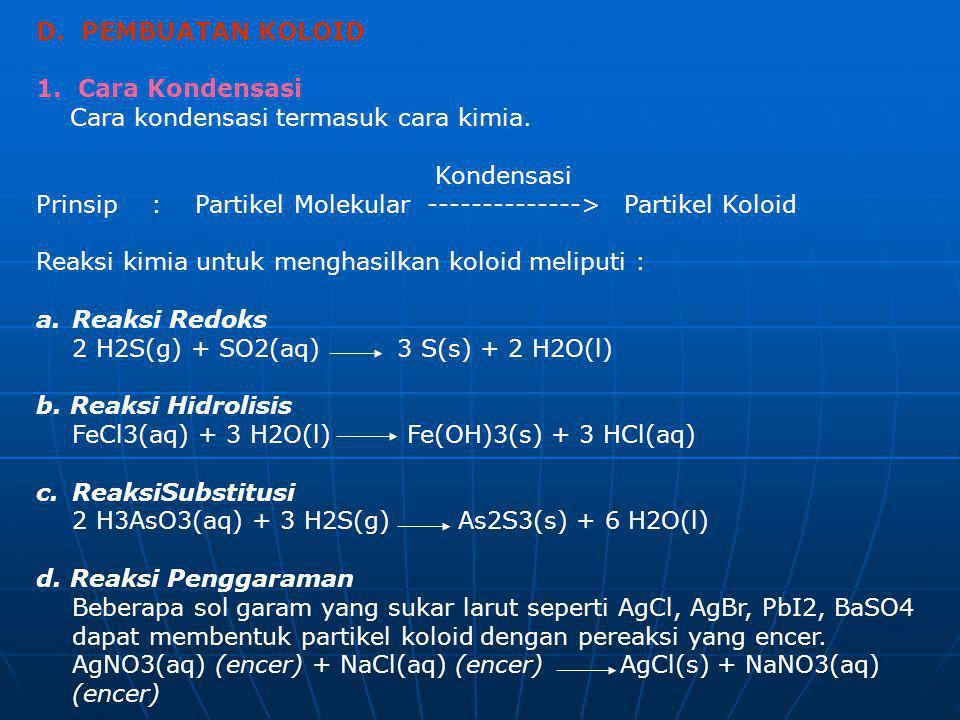 D. PEMBUATAN KOLOID 1. Cara Kondensasi Cara kondensasi termasuk cara kimia. Kondensasi Prinsip : Partikel Molekular --------------> Partikel Koloid Re