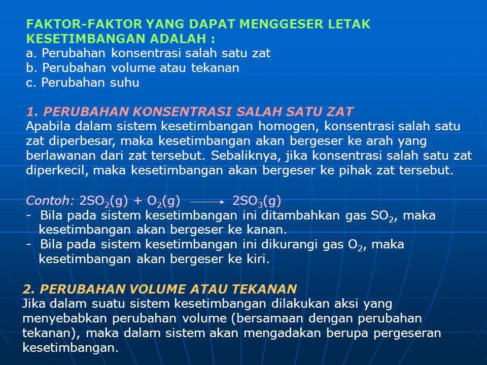 FAKTOR-FAKTOR YANG DAPAT MENGGESER LETAK KESETIMBANGAN ADALAH : a. Perubahan konsentrasi salah satu zat b. Perubahan volume atau tekanan c. Perubahan