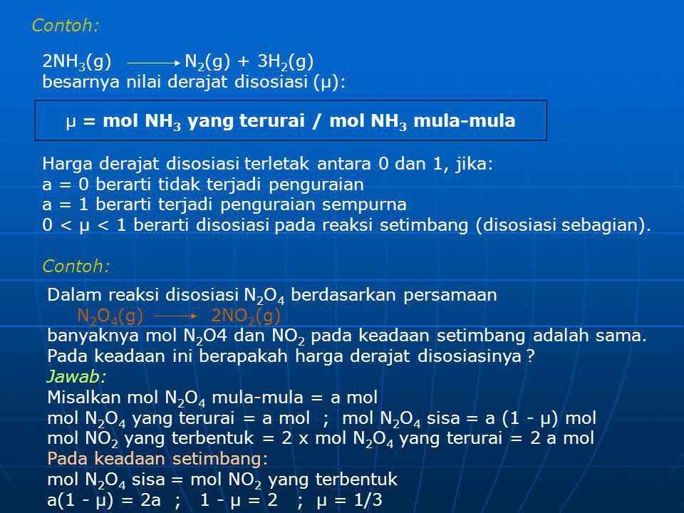 Contoh: 2NH 3 (g) N 2 (g) + 3H 2 (g) besarnya nilai derajat disosiasi (µ): µ = mol NH 3 yang terurai / mol NH 3 mula-mula Harga derajat disosiasi terl