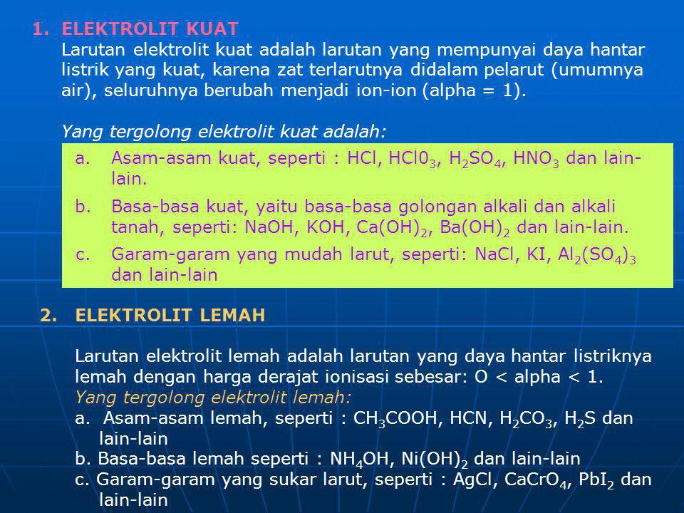 1. ELEKTROLIT KUAT Larutan elektrolit kuat adalah larutan yang mempunyai daya hantar listrik yang kuat, karena zat terlarutnya didalam pelarut (umumny