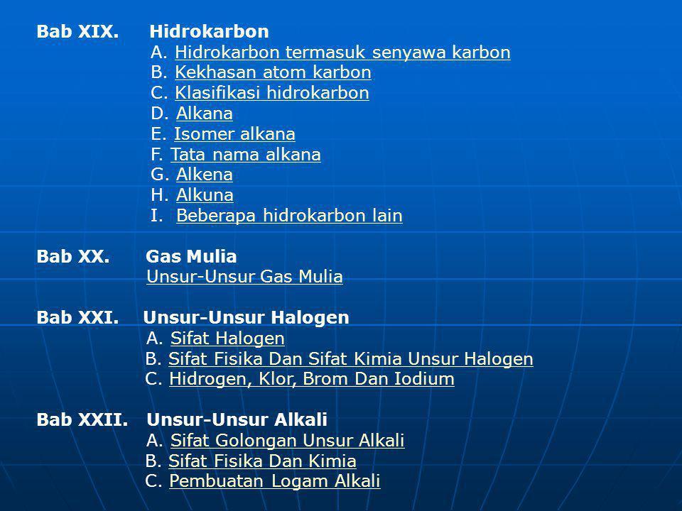 Bab XIX. Hidrokarbon A. Hidrokarbon termasuk senyawa karbon B. Kekhasan atom karbon C. Klasifikasi hidrokarbon D. Alkana E. Isomer alkana F. Tata nama