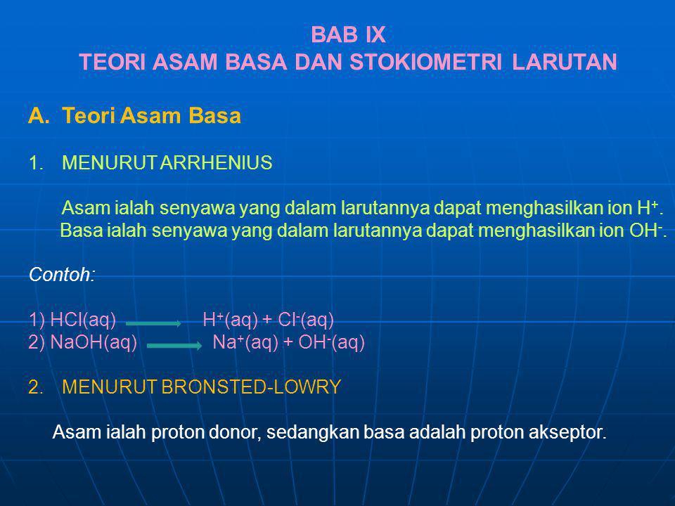 BAB IX TEORI ASAM BASA DAN STOKIOMETRI LARUTAN A.Teori Asam Basa 1.MENURUT ARRHENIUS Asam ialah senyawa yang dalam larutannya dapat menghasilkan ion H
