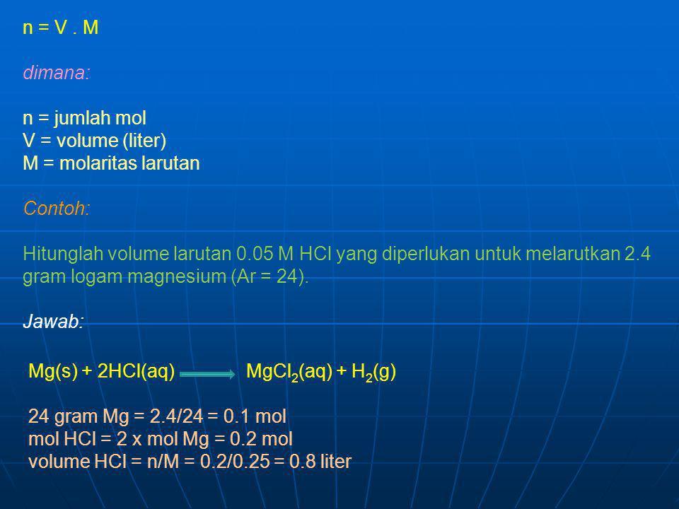 n = V. M dimana: n = jumlah mol V = volume (liter) M = molaritas larutan Contoh: Hitunglah volume larutan 0.05 M HCl yang diperlukan untuk melarutkan