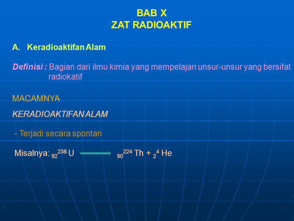 BAB X ZAT RADIOAKTIF A.Keradioaktifan Alam Definisi : Bagian dari ilmu kimia yang mempelajari unsur-unsur yang bersifat radiokatif MACAMNYA : KERADIOA