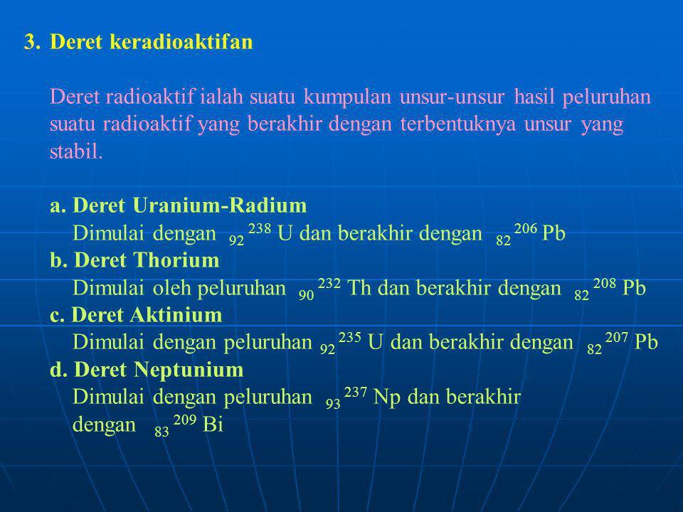 3.Deret keradioaktifan Deret radioaktif ialah suatu kumpulan unsur-unsur hasil peluruhan suatu radioaktif yang berakhir dengan terbentuknya unsur yang
