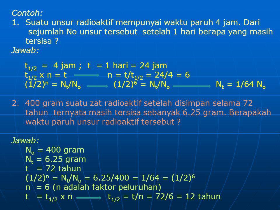 Contoh: 1.Suatu unsur radioaktif mempunyai waktu paruh 4 jam. Dari sejumlah No unsur tersebut setelah 1 hari berapa yang masih tersisa ? Jawab: t 1/2