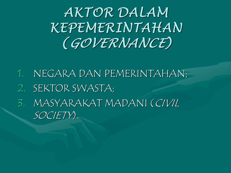 AKTOR DALAM KEPEMERINTAHAN (GOVERNANCE) 1.NEGARA DAN PEMERINTAHAN; 2.SEKTOR SWASTA; 3.MASYARAKAT MADANI (CIVIL SOCIETY).