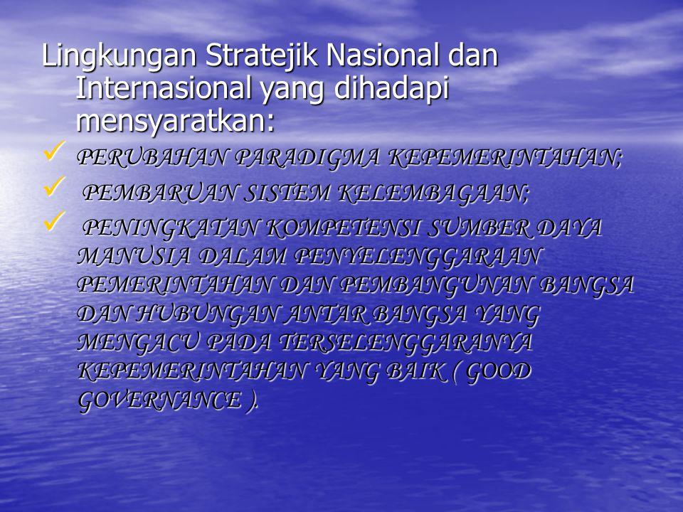 Lingkungan Stratejik Nasional dan Internasional yang dihadapi mensyaratkan: PERUBAHAN PARADIGMA KEPEMERINTAHAN; P PEMBARUAN SISTEM KELEMBAGAAN; ENINGK