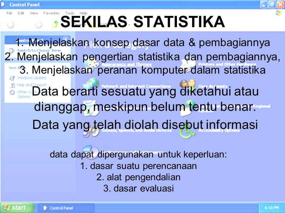 SEKILAS STATISTIKA 1. Menjelaskan konsep dasar data & pembagiannya 2. Menjelaskan pengertian statistika dan pembagiannya, 3. Menjelaskan peranan kompu