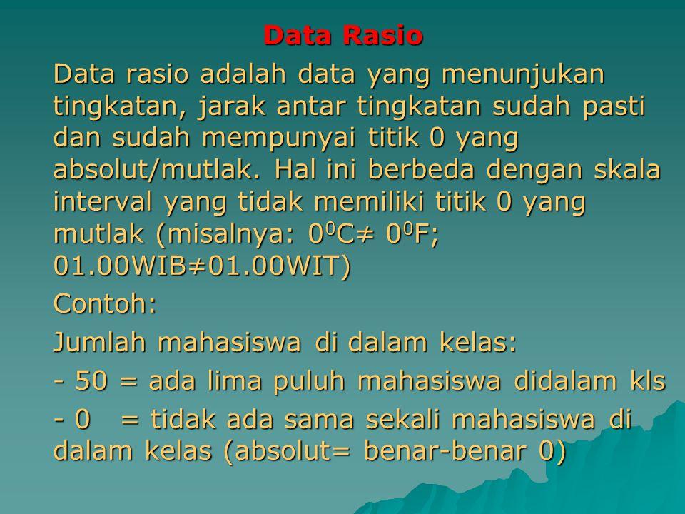 Data Rasio Data rasio adalah data yang menunjukan tingkatan, jarak antar tingkatan sudah pasti dan sudah mempunyai titik 0 yang absolut/mutlak. Hal in