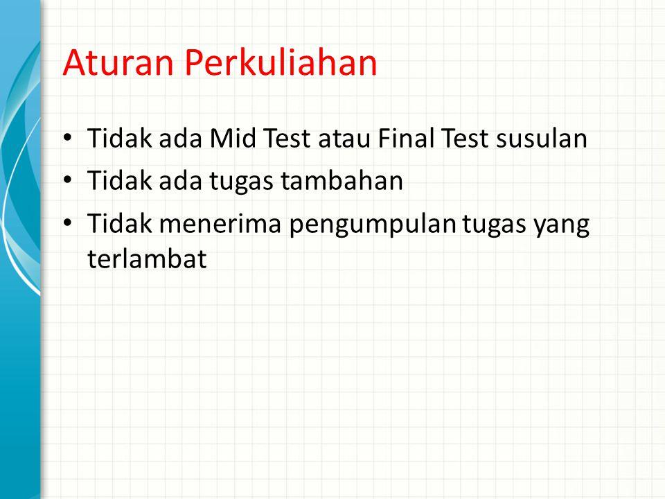 Aturan Perkuliahan Tidak ada Mid Test atau Final Test susulan Tidak ada tugas tambahan Tidak menerima pengumpulan tugas yang terlambat