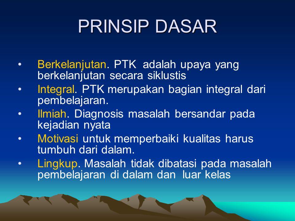 PRINSIP DASAR Berkelanjutan. PTK adalah upaya yang berkelanjutan secara siklustis Integral. PTK merupakan bagian integral dari pembelajaran. Ilmiah. D