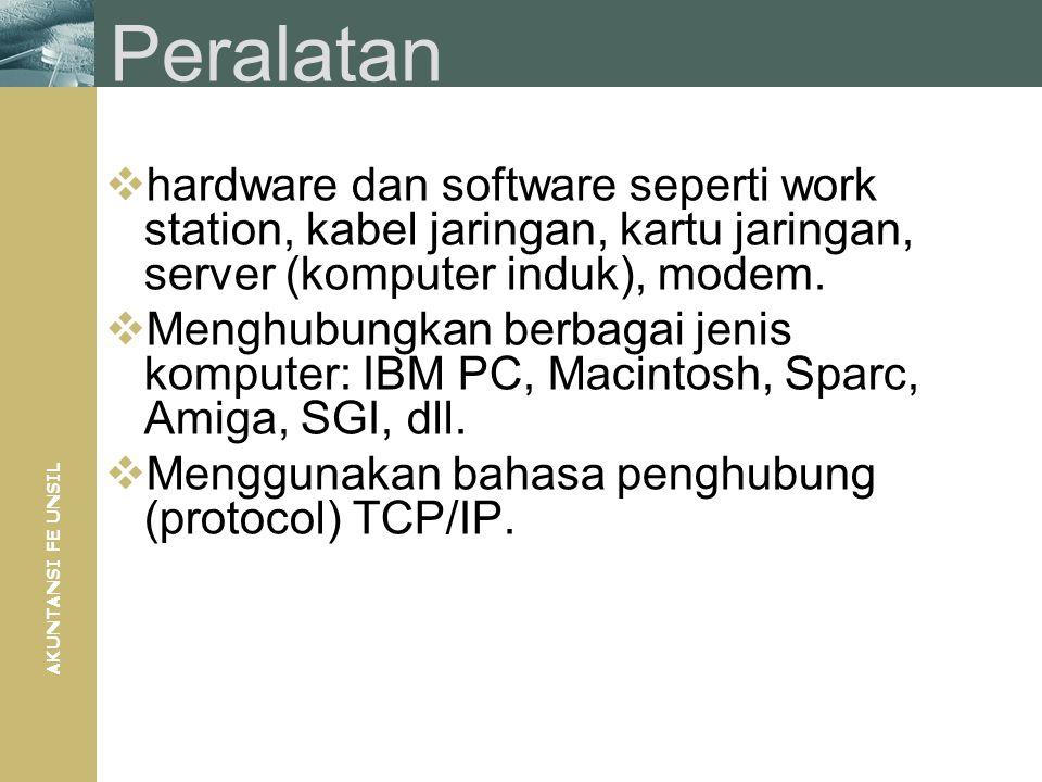 AKUNTANSI FE UNSIL Peralatan  hardware dan software seperti work station, kabel jaringan, kartu jaringan, server (komputer induk), modem.  Menghubun