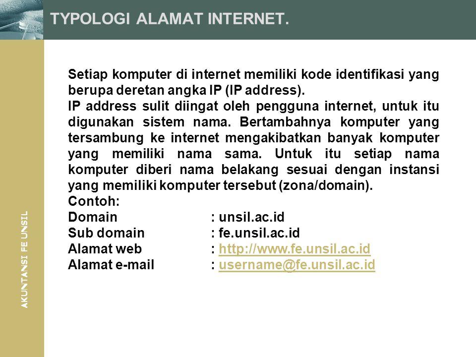 AKUNTANSI FE UNSIL TYPOLOGI ALAMAT INTERNET. Setiap komputer di internet memiliki kode identifikasi yang berupa deretan angka IP (IP address). IP addr