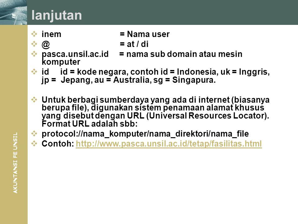 AKUNTANSI FE UNSIL lanjutan  inem= Nama user  @= at / di  pasca.unsil.ac.id = nama sub domain atau mesin komputer  idid = kode negara, contoh id =