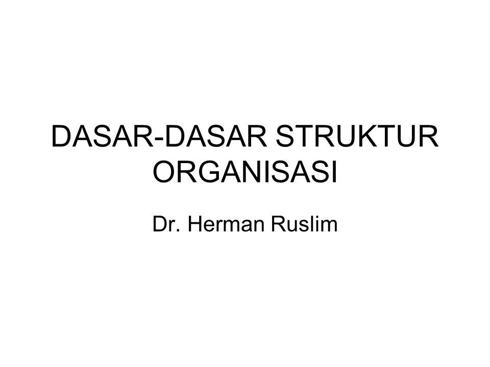DASAR-DASAR STRUKTUR ORGANISASI Dr. Herman Ruslim