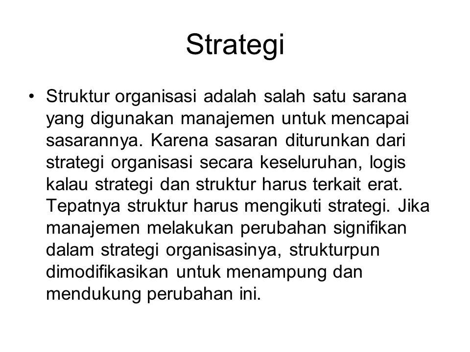 Strategi Struktur organisasi adalah salah satu sarana yang digunakan manajemen untuk mencapai sasarannya.