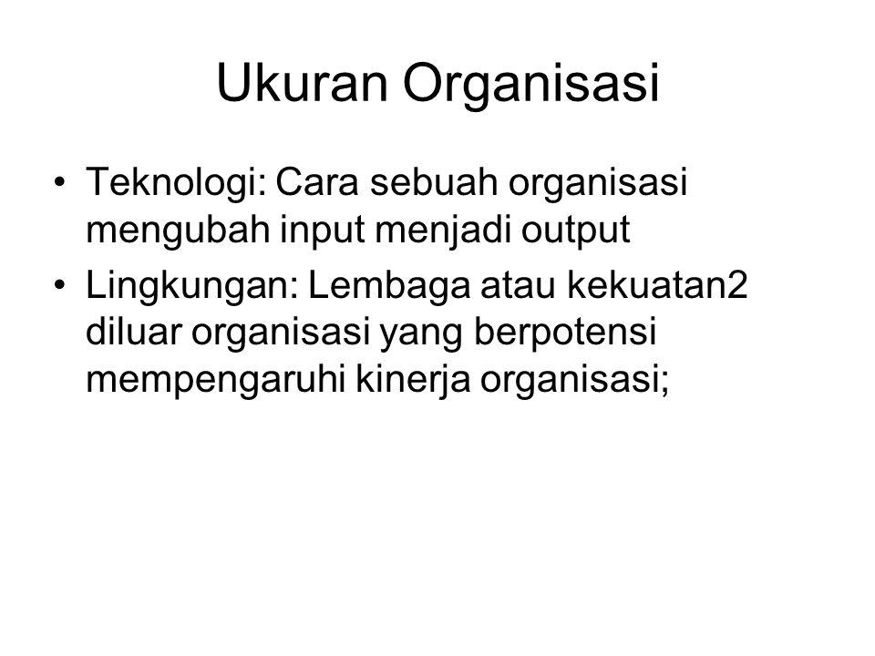 Ukuran Organisasi Teknologi: Cara sebuah organisasi mengubah input menjadi output Lingkungan: Lembaga atau kekuatan2 diluar organisasi yang berpotensi mempengaruhi kinerja organisasi;