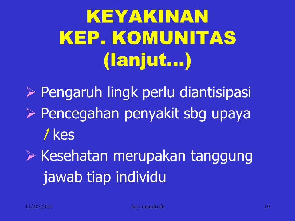 11/20/2014fery mendrofa10 KEYAKINAN KEP. KOMUNITAS (lanjut…)  Pengaruh lingk perlu diantisipasi  Pencegahan penyakit sbg upaya kes  Kesehatan merup