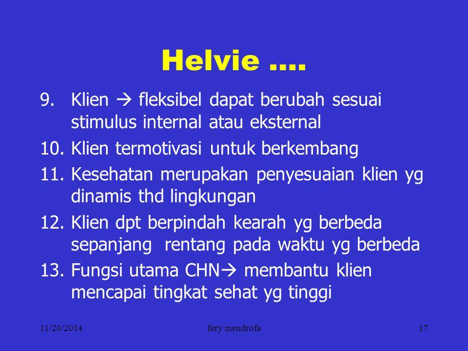 11/20/2014fery mendrofa17 Helvie …. 9.Klien  fleksibel dapat berubah sesuai stimulus internal atau eksternal 10.Klien termotivasi untuk berkembang 11